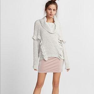 Express ruffle sweater gray